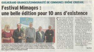 Présentation du festival Mimages 2015 dans le Dauphiné Libéré
