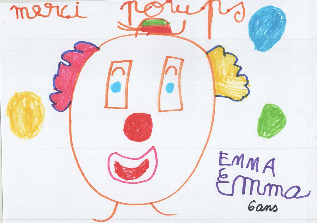 Dessin de l'école maternelle de Cornas, Poup's le clown